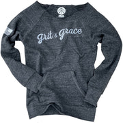 Women's Grit & Grace Ultra Soft Off The Shoulder Sweatshirt (Charcoal)