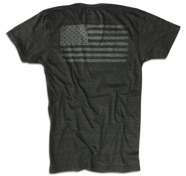 Men's Blacked Out Old Glory American Flag Tri-blend T Shirt (Heather Black)