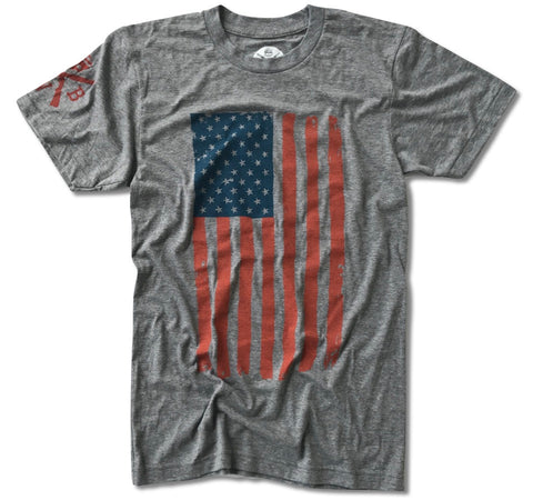 Men's Vertical Hand Sketched American Flag (Heather Gray)