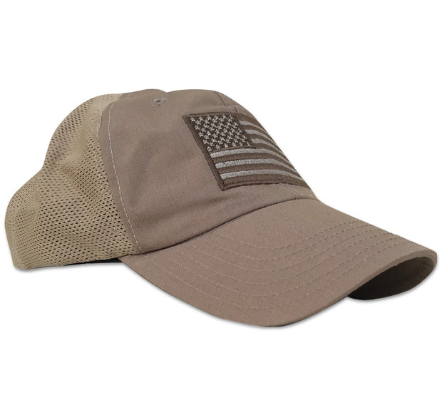Red White BLue Apparel Range Hat  Tactical American Flag Performance velcro mid profile unstructured shooting shooters cap made in usa america patriotic mesh back trucker style lid full coyote  tan ripstop rip stop
