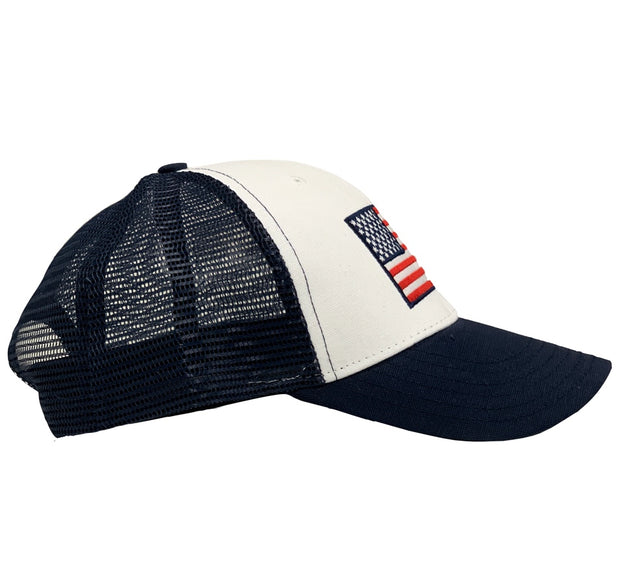 American Flag Patriotic Made In USA Trucker Hat White & Navy