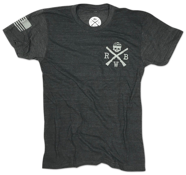 Men's Bedford Flag Conquer Or Die Tri-Blend T-Shirt (Heather Black)