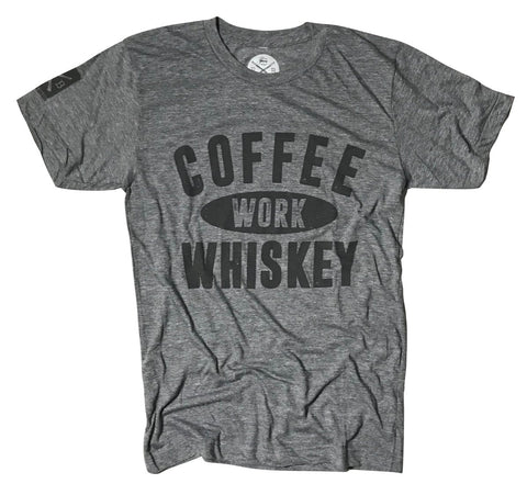 Men's Coffee Work Whiskey Tri-blend T-Shirt (Heather Gray)