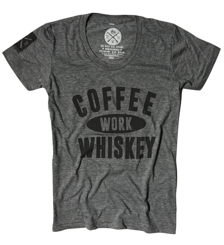 Women's Coffee Work Whiskey T-Shirt (Heather Gray)