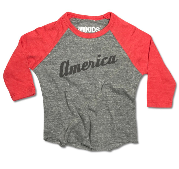 RWB KIDS American Baseball Jersey Raglan (Heather Gray / Red)