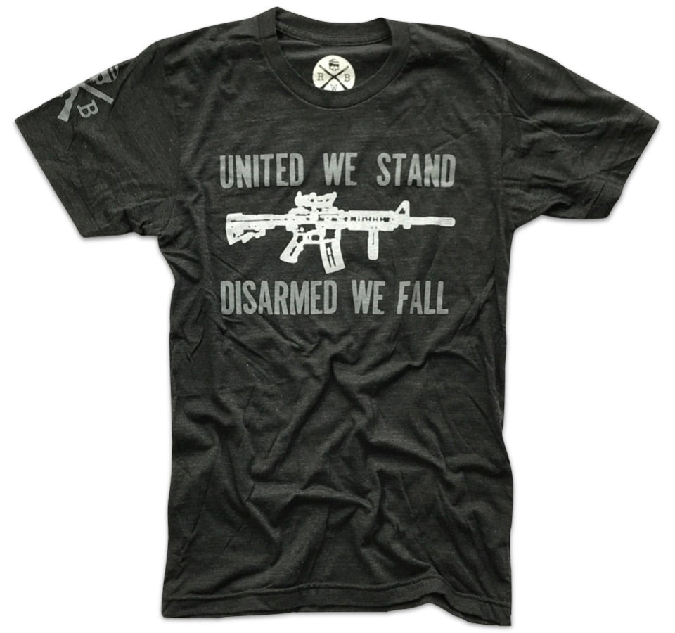 Red White Blue Apparel United We Stand Disarmed We Fall Second amendment gun rights t shirt made in America ar15 tactical shooter