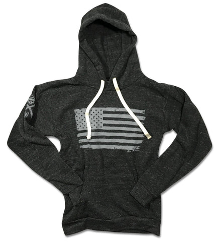 Men's Vintage American Flag Pullover Tri-Blend Hooded Sweatshirt (Heather Black)