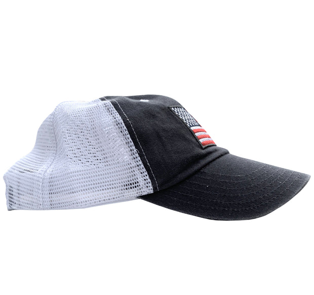 Women's American Flag Vintage Washed Dad Hat (Grey/White)