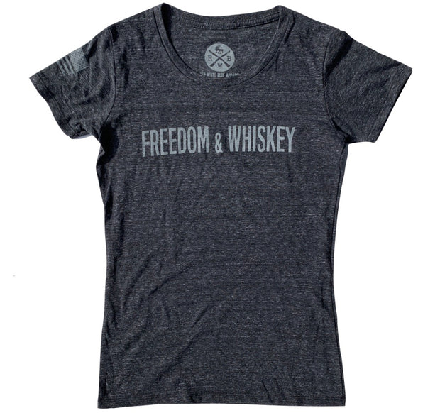 Women's Freedom & Whiskey Patriotic T Shirt