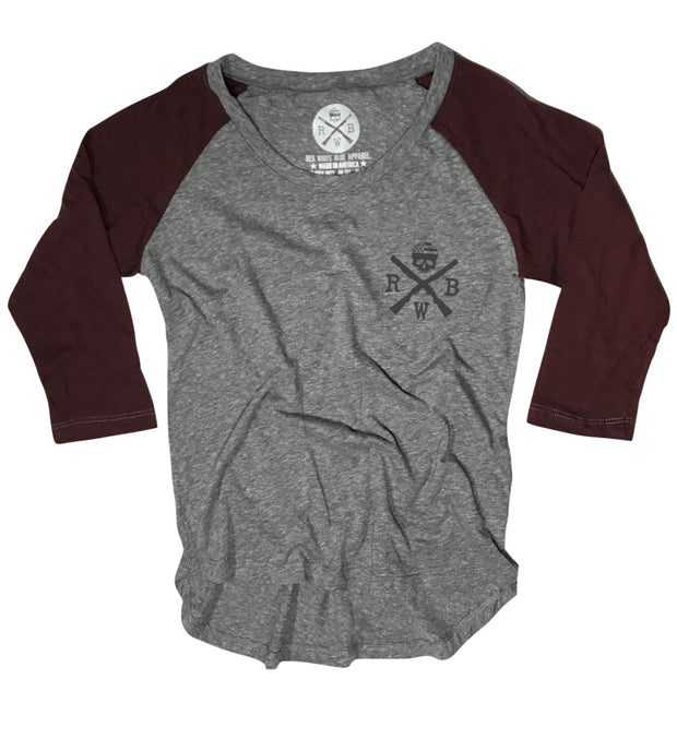 Women's Old Glory Baseball Raglan T Shirt (Heather Gray / Cranberry)