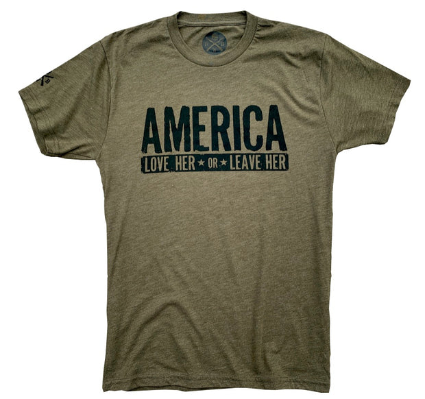 Men's Love Her Or Leave Her Tri-Blend T-Shirt (Army Green)