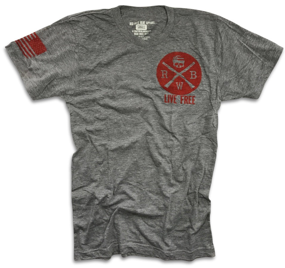 Live Free Patriotic American Made Shirt Red White Blue