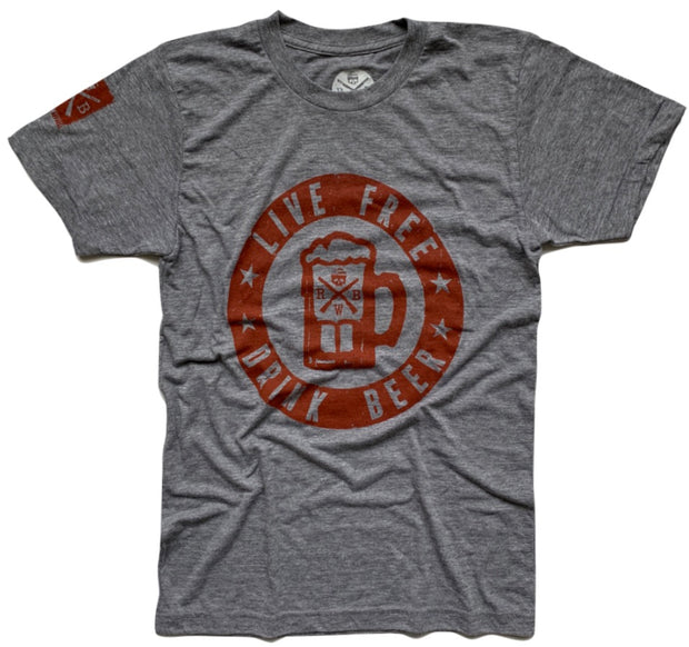 Men's Live Free Drink Beer (Heather Gray)
