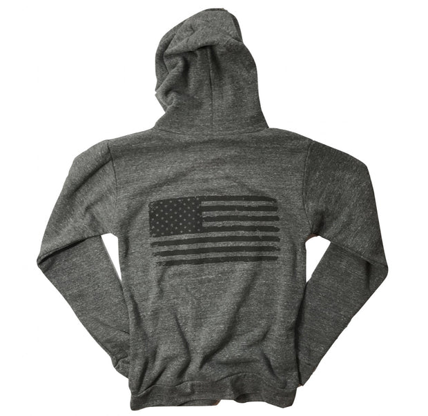 American Flag Pull Over Hooded Sweatshirt Red White Blue Apparel Patriotic Hoodie USA Made