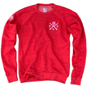 Women's American Flag Raglan Ultra Soft Crew Neck Sweatshirt (Red)
