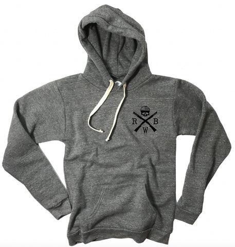 Men's American Flag Pullover Tri-Blend Hooded Sweatshirt (Heather Gray)