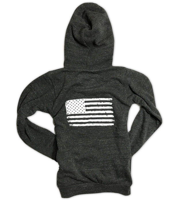 Women's Old Glory American Flag Pullover Hooded Sweatshirt (Heather Black)