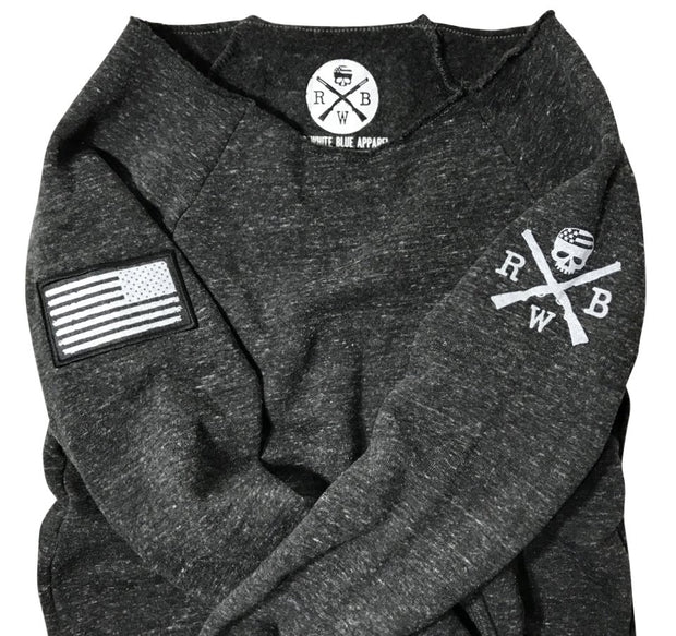 Women's American Flag Patch Pullover Off The Shoulder Sweatshirt (Heather Black)