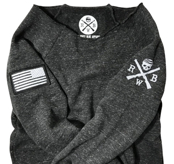 ... Women s American Flag Patch Pullover Off The Shoulder Sweatshirt  (Heather Black) 78cafba72a