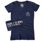 Women's Work Harder Protest Less T-Shirt (Heather Navy)
