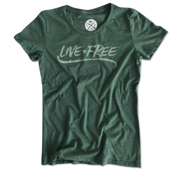 Women's Live Free Patriotic T-Shirt Forest