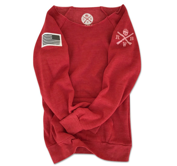 Women's American Flag Patch Pullover Off The Shoulder Sweatshirt (Heather Red)
