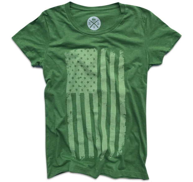 Women's Vertical Hand Sketched American Flag T-Shirt (Heather Kiwi)