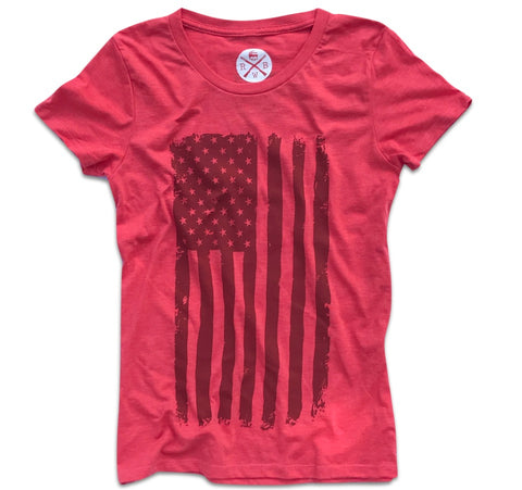 Women's Vertical Hand Sketched American Flag T-Shirt (Heather Red)