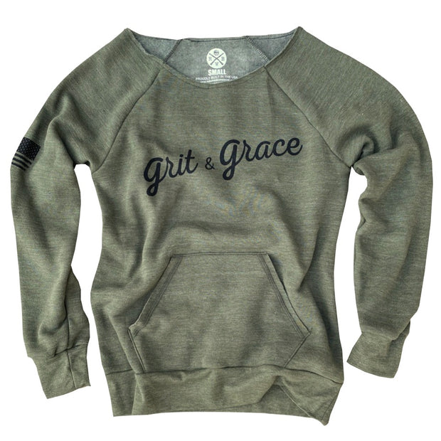 Women's Grit & Grace Ultra Soft Off The Shoulder Sweatshirt (Army Green)
