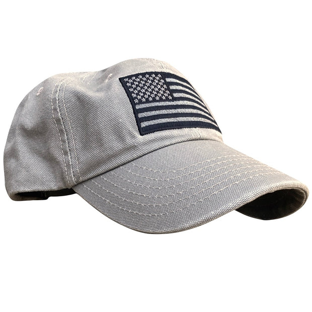 American Flag Vintage Washed Full Fabric Desert Sand Dad Hat
