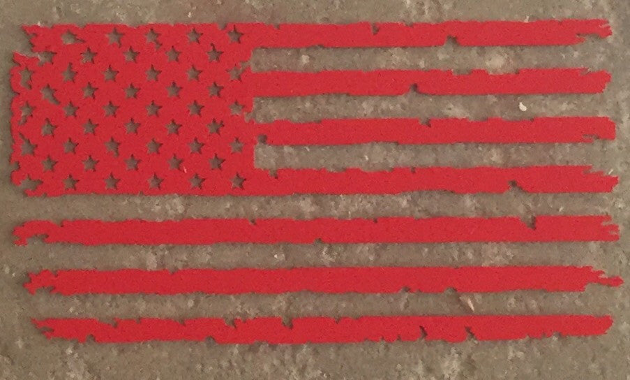 Old Glory American Flag Vinyl Window Decal (Red)