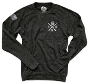 Men's American Flag Raglan Ultra Soft Crew Neck Sweatshirt (Heather Black)