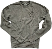 Men's American Flag Raglan Ultra Soft Crew Neck Sweatshirt (Heather Gray)