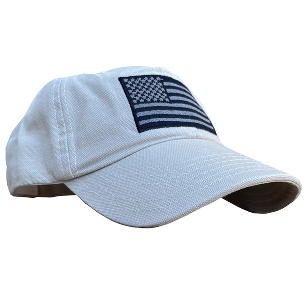 American Flag Vintage Washed Full Fabric Stone Gray Dad Hat