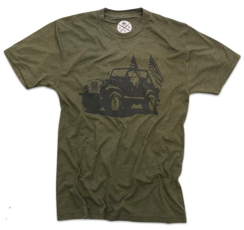 Men's Classic American CJ Tri-Blend T-Shirt (Army Green)