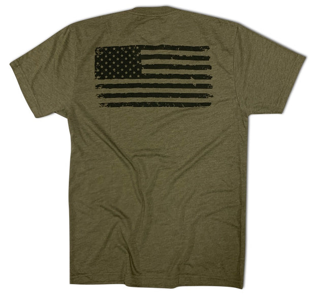 Men's Old Glory American Flag Tri-blend T Shirt (Army Green)