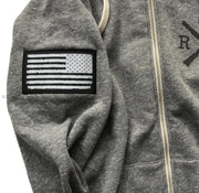 Men's American Flag Patch Zip Up Tri-Blend Hooded Sweatshirt