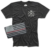 red white blue apparel red line of courage American flag patriotic firefighter fire FD t shirt