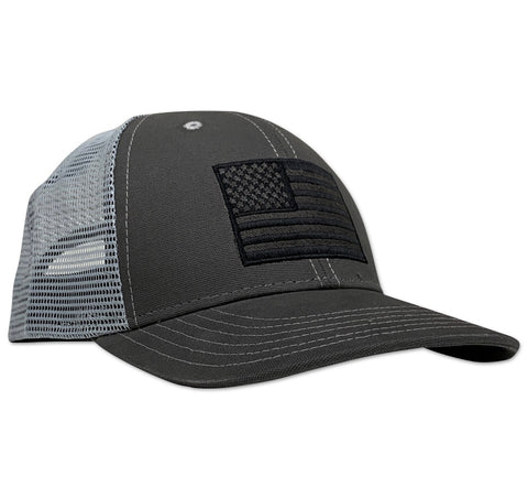 American Flag Snap Back Charcoal Gray - Trucker Hat