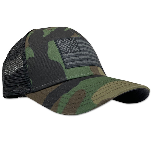 American Flag Snap Back Woodland Camo - Trucker Hat