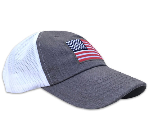 American Flag Structured Kool Knit Mesh Snap Back Hat (Charcoal / Black Patch)