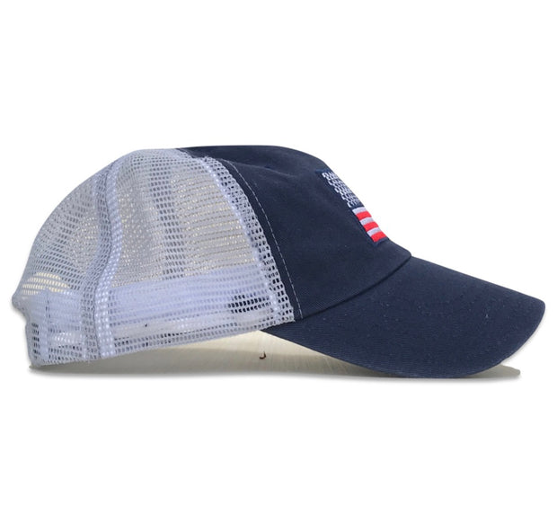 Women's American Flag Vintage Washed Dad Hat (Blue/White)