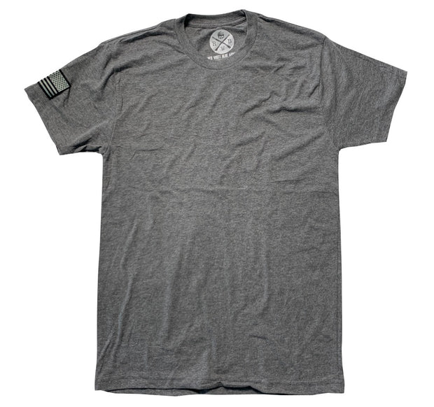 Men's American Flag Patch Basic Gray T Shirt