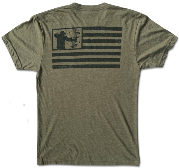 Men's American Flag Bowhunter Patriotic Hunting T-Shirt