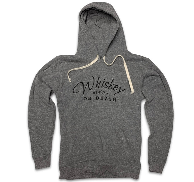 Men's Whiskey or Death Hooded Sweatshirt (Heather Gray)