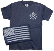 Men's Old Glory American Flag Tri-blend T Shirt (Heather Navy)