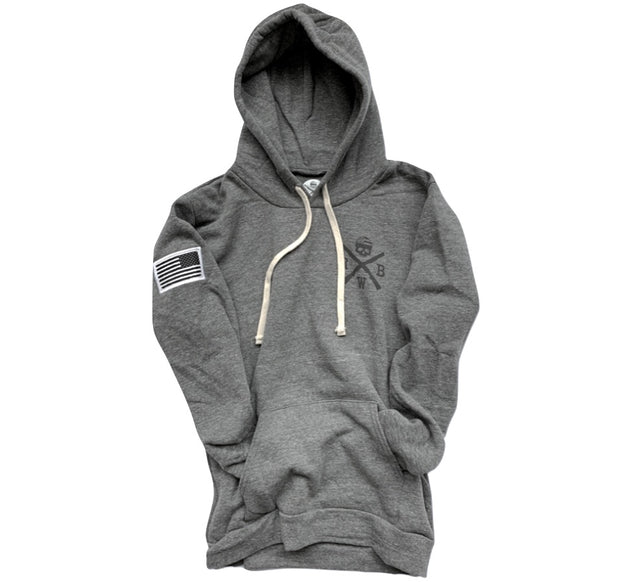 Men's American Flag Patch Pullover Hooded Sweatshirt Gray