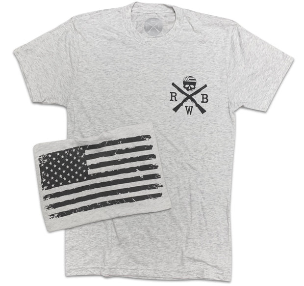 Men's Old Glory American Flag Tri-blend T Shirt (Heather White)