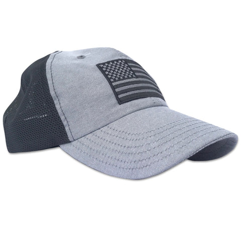 American Flag Blacked Out Structured Snap Back - BALL CAP