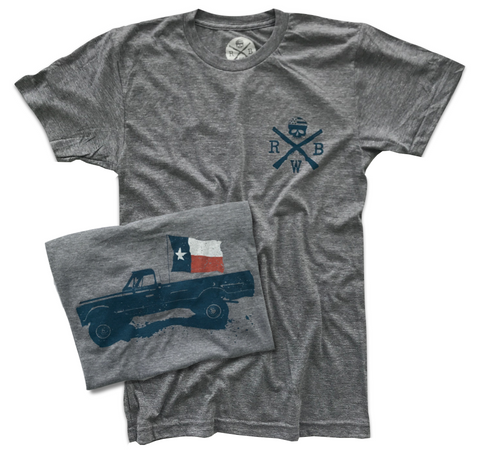 Men's Classic American Texas Flag Truck Tri-Blend T-Shirt (Heather Gray)